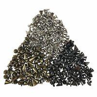100X 7x10mm Metal Screwback Studs Rivet Punk Belt Bag Leather Craft Cone Spike.