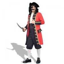 Pirate Buccaneer Captain 3 Pc Red & Blk Coat Knickers & Shirt Front Medium