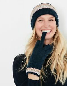 Joules Womens Vinnie Knitted Gloves - French Navy - One Size