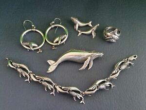Kabana Whale Lovers - slide pendant, 2 sets earrings, bracelet, ring - sterling