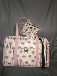 Luv BETSEY JOHNSON Weekender Luggage Bag PINK ROSE+WRISTLET Crossbody 3 for1 NWT