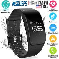 IP67 Waterproof Fitness Tracker Smart Watch Band Pedometer W/Heart Rate Monitor