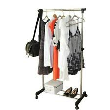 "31.49"" x 16.93"" Clothes Rack Single Hanging Garment Bar Hanger Adjustable"