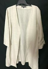 NWT Preston & York 3/4 Roll-up Sleeve Natural Tan Linen Cheryl Jacket Size 10