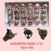 Wholesale & Job Lots 72 Large Skull Skeleton Metal Goth Biker Rings Men & Women