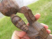 Vintage Wood Sculpture African Folk Art Woman Handmade Old Wood Statue