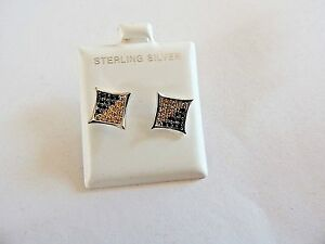 """Modern Classic .925 Sterling Silver """"Two Tone Stones"""" Earrings"""