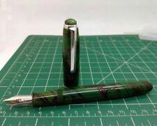 Gama Ebonite Premium Marbled Green Eyedropper Fountain Pen Fine Nib