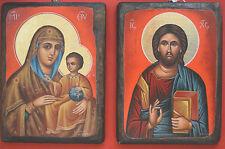 Set of 2 Orthodox Icons Greek Byzantine Hand painted Jesus Christ with Panagia