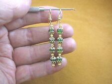 (ee404-20) 6 mm Green Jade Canada gemstone 4 bead + filigree dangle earrings