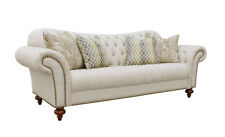 Lincoln Sand Colour Poly-Linen 3 Seater Sofa with Scatter Cushions - BRAND NEW