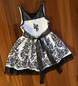 Bonnie Jean Girl's Size 8 White Dress w/flocked Flowers Sleeveless Lined EXC