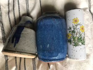 Lot of 3 small vintage ceramic flower vases blue and yellow floral