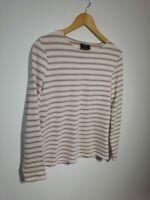 Saint James UK 14 Pink & Brige Bretton Stripe Cotton Long Sleeve T-shirt French
