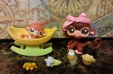Littlest Pet Shop LPS lot ❤ Mommy & Baby Monkey #2670 2671 ❤ Custom Accessories