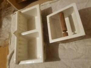 LARGE Vintage Ceramic Soap Dish / Toilet Roll Holder Bathroom  Recessed Wall