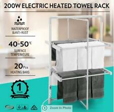 200W 2-Tier 20 Heating Bars Heated Electric Clothes Towel Drying Rack Foldable