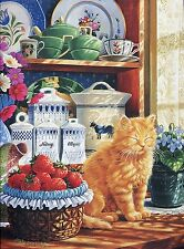 Strawberry Sunrise by Mary Ann Lasher Cat Theme 1000 Piece Jigsaw Puzzle