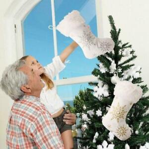 Snowflake Christmas Stocking kid Gifts Candy Storage Bag Hanging Tree Xmas Y2J6
