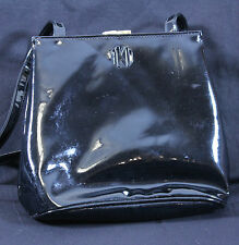 Womens ANNE KLEIN II evening bag HANDBAG Purse Patent Leather BLACK Groton VGC