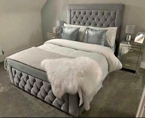 Stylish Plush Velvet Cambridge Bed, Chesterfield Bed, Bed Frame All Sizes