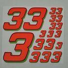 Orange Fluorescent w/blue&green #3's Racing Numbers Vinyl Decal Sheet 1/10-1/12