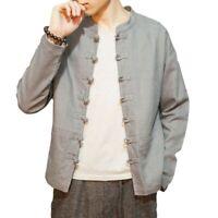 Frühling Herbst Herren Tang Anzug Chinesischen Jacke Baumwolle Leinen Langarm L