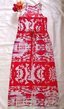 Collective Concepts Red Sleeveless Maxi Dress Size L Pink Bright Lined Womens