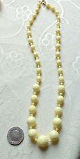 VINTAGE GIALLO Sfaccettato Plastica Perline Collana Strand