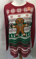 Ugly Christmas Sweater Womens Red Light Up Gingerbread Man size Large