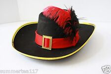 Halloween Party Puss in Boots Hat Adults and Kids Black / Red Feather G0432