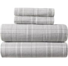 Peacock Alley Welsh Flannel QUEEN Sheet Set Gray Plaid NIP