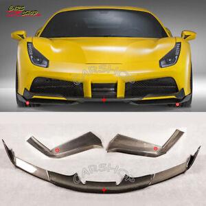Real Carbon Fiber Front Lip Bumper Splitter Body Kit For Ferrari 488 GTB Spider