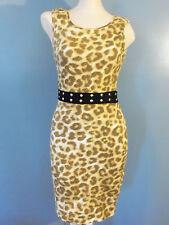 Kim Kardashian Kollection Leopard Bodycon Dress w Black Belt and Studs XS Small