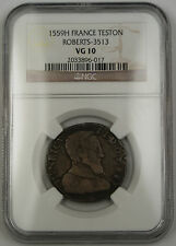 1559H France Teston Silver Coin Roberts-3513 Henry II NGC VG-10 AKR