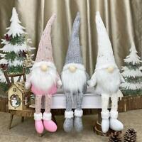 Christmas Faceless Gnome Santa Sitting Long Leg Doll Xmas Ornament Toy Gifts