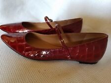 calvin klein Red Leather Animal Print Flats size 8 NWOB