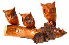 New listing Handmade Wooden Owls Carved into Log, Rustic Bird, Cabin Woodland Garden Decor