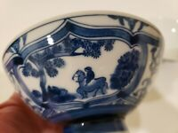 Cobalt Blue and White Porcelain 2 Rice Bowls with Horseback Riding Scene