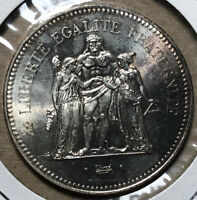 1976 France Hercules 50 Francs Silver Coin BU Condition