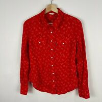 Levis Womens Shirt Top Small Red Long Sleeve Collared Snap Button