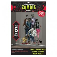 HALLOWEEN PARTY ZOMBIE FAMILY UNDEAD WALL SCENE SETTER ROOM ADD ON DECORATIONS