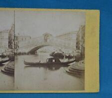 1860/70s Stereoview Photo Italy Ponte Di Rialto Venezia Venice Carlo Naya