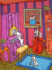 jack russell terrier music trio Dog abstract folk pop Art 4x6 Glossy Print
