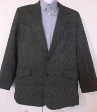 Vintage 1970's Pioneer Wear Silk Cotton Black Western Blazer Sports Coat Mens 40