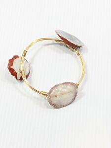 Gold Tone White Gray Agate? Polished Stone Wire Wrapped Bangle Bracelet