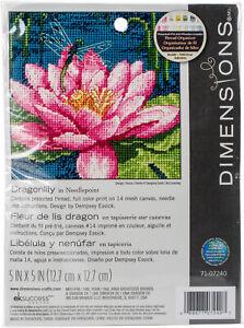 "Dimensions Mini Needlepoint Kit 5""X5""-Dragon Lily Stithced In Thread -71-07240"
