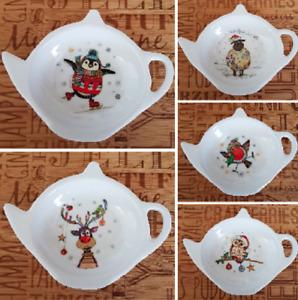 Bug Art Christmas Tea Bag Tidy Reindeer Owl Penguin Sheep Robin Tea Bag Dish