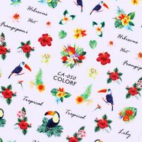 Pattern 3D Nail Stickers Tropical Flower Bird Nail Art Transfer Decals