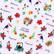 Bird Nail Art 3D Stickers Tropical Flower Bird Nail Transfer Decals